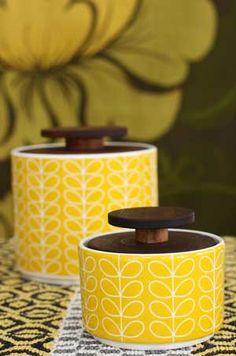 Orla Kiely - Sockerburk i porslin - Linear Stem Yellow