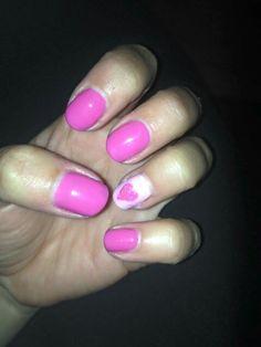 pink hearts. natural nail overlay gel polish