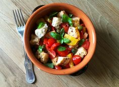A fresh, colorful and tasty plate. This is my version of panzanella and it\'s a perfect alternative to the classic salad. Try it with a main dish or as appetizer.