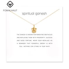 Sparkling spiritual ganesh elephant Pendant necklace Clavicle Chains Statement Necklace Women FOMALHAUT Jewelry
