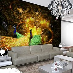 JAMMORY Golden Phoenix 3D Fashion Wallpaper Personality Wallpaper Mural Wall Covering Canvas Material Golden Church XL XXL XXXL 5528405 2017 – $84.99 #prints #printable #painting #canvas #empireprints #teepeat