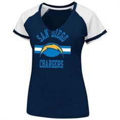 San Diego Chargers Ladies Tee Majestic Go For Two V-Neck