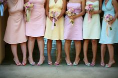 Mismatched bridesmaid dresses are the latest trend that gives you an all new unique look. Here are some best mix and match combinations for bridesmaid dresses. Pastel Bridesmaids, Mismatched Bridesmaid Dresses, Rainbow Bridesmaids, Wedding Bridesmaids, Easter Wedding Ideas, Easter Ideas, Pastel Color Dress, Pastel Dresses, Pastel Colours