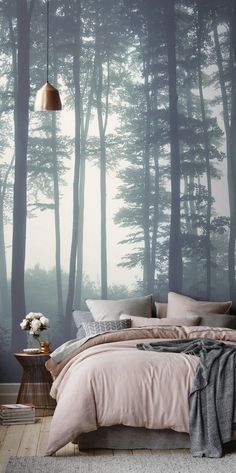 Sea of Trees Forest Mural Wallpaper, custom made to suit your wall size by the UK's for wall murals. Custom design service and express delivery available. bedroom Sea of Trees Forest Mural Wallpaper Dream Bedroom, Home Bedroom, Bedroom Murals, Nature Bedroom, Forest Bedroom, Bedroom Furniture, Woodsy Bedroom, Furniture Ideas, Wall Paper Bedroom