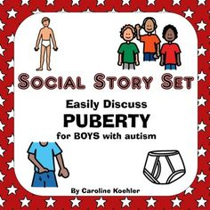 Social Story Set for Boys in Puberty Boys face many challenges when going through puberty!  Discuss puberty and growing up easily by reading detailed social stories that focus on health, sexuality, and social situations.  This set of five social stories includes 8  * 11 books including  Being Discreet (concealing an erection in public) (19 pages) Private Parts (masturbating) (14 pages) Wet Dream (15 pages) Clothes On (12 pages) Hands on Top of Clothes  (11 pages)These social stories are…