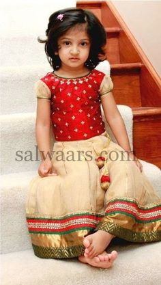 Small Baby Cream Net Tissue Skirt | Indian Dresses