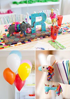 Wild Child Birthday Party Kids Table and Balloons