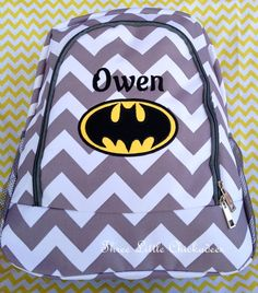 c120eb431e54 Boys Grey Chevron Batman Applique Backpack FREE Personalization  etsy.com shop threelittlechickadee