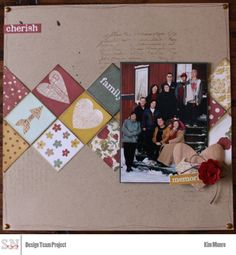 Cherish scrapbook layout by Kim for scrapbooknerd.com My Scrapbook, Scrapbook Layouts, Scrapbooking, How To Introduce Yourself, January, Nerd, Paper Crafts, Create, Projects