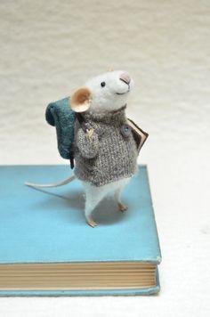 Little Traveler Mouse - unique - needle felted ornament animal, felting dreams by johana molina. $68.00, via Etsy.