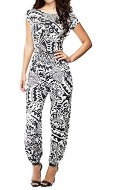 OUCHI Women Short Sleeve Retro Floral Printed Party Cocktail Romper Jumpsuit L Black >>> Details can be found by clicking on the image.(This is an Amazon affiliate link and I receive a commission for the sales)