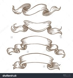 stock-vector-vintage-ribbon-banners-hand-drawn-set-171714662.jpg (1500×1600)