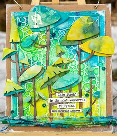 Layers of ink - Funky Forest Tutorial by Anna-Karin Evaldsson. Craft Stick Crafts, Paper Crafts, Tim Holtz Dies, Sizzix Dies, Timmy Time, Distressed Painting, Art Journal Inspiration, Making Ideas, Cardmaking