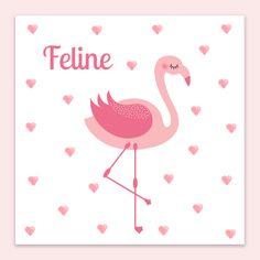 Hartjes en een lieve flamingo in watercolour. Een perfect geboortekaartje voor een meisje.