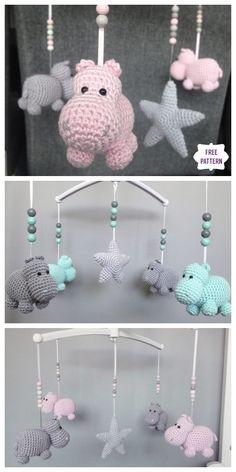 Crochet Hippo, Crochet Baby Mobiles, Crochet Mobile, Crochet Baby Toys, Crochet Patterns Amigurumi, Cute Crochet, Baby Knitting, Knitting Patterns, Free Knitting