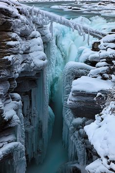 Athabasca Falls in the winter,so quiet a totally different experience than in the summer