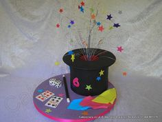 Shaped magicians magic hat cake with a brightly coloured glitter explosive topper bursting out. Decorated with glitter stars and the board has magicians props of personalised playing cards, dice, magic wand, and handkerchiefs Magician Cake, Magician Party, Magic Birthday, Birthday Fun, Birthday Cake, Personalized Playing Cards, Magic Theme, Soccer Cake, Hat Cake