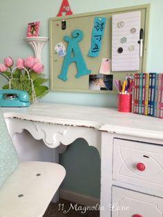 Aqua and white desk area