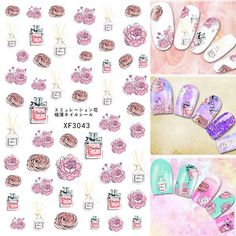 Water Color Flower Roses Perfume 3D Nail Art Sticker Nail Tips Decal Back Glue Adhesive Stickers Lady Girly Romantic #Affiliate