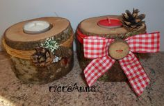 Candles with tree trunk. Candele con tronco d'albero.