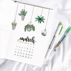Bullet journal monthly cover page, March cover page, hand lettering, hanging plants drawings. | @notebook_therapy