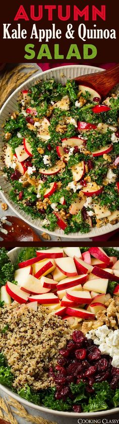 Kale Apple and Quinoa Salad Autumn Kale Apple and Quinoa Salad - I finally like raw kale now thanks to this incredible salad!Autumn Kale Apple and Quinoa Salad - I finally like raw kale now thanks to this incredible salad! Healthy Salad Recipes, Raw Food Recipes, Healthy Snacks, Vegetarian Recipes, Healthy Eating, Cooking Recipes, Autumn Recipes Healthy, Cooking Videos, Cooking Joy