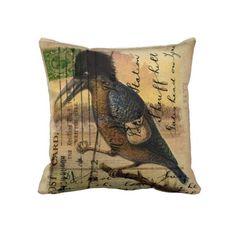 Postcard Kingfisher Cushion/Throw Pillow.