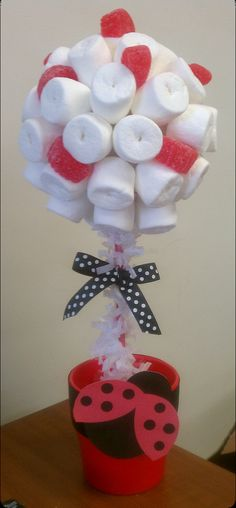 Marshmallow Topiary Centerpiece Ladybug Theme by SeshalynParties, $24.99