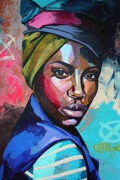 A set of painting of modern day African woman living in the city. Vibrant color patterns depicts their strong and independent personality each of all the African American women today. Each oil painting is created by hand using only the finest canvas and o Painting People, Woman Painting, Painting & Drawing, Painting Trees, Art Watercolor, Arte Sketchbook, African American Art, African Girl, African Men