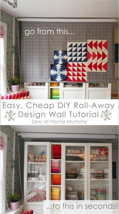 Easy, cheap! DIY roll-away quilting design wall tutorial by Sew at Home Mummy (also a great site for other easy, cheap sewing studio and home DIY projects!)