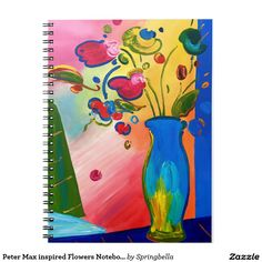 Peter Max inspired Flowers Notebook