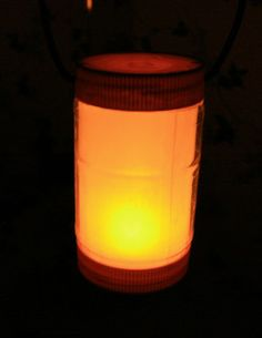 DIY Camping Lantern…       Have the kids help you make these out of old peanut butter jars