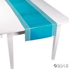 Turquoise Chevron Table Runner - OrientalTrading.com