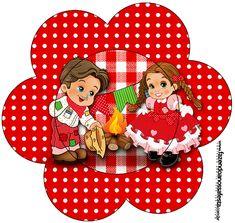 Tag Flor Kit Festa Junina Vermelho e Branco