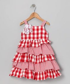 Loving this Red & White Gingham Ruffle Dress - Toddler & Girls on #zulily! #zulilyfinds