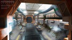 Concept art for Asteroids: Outpost. Sci Fi Environment, Concept Art World, Building Concept, Interior Concept, Futuristic, Marco Polo, Interiors, 3d, Spacecraft