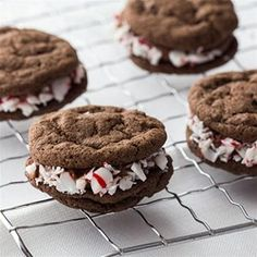 A creamy mint chocolate filling is sandwiched between double chocolate cookies for a festive holiday treat.