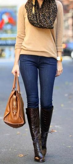 Leopard Scarf + tan sweater + handbag =GORG