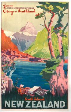 Vintage Travel Travel Poster Vintage, South Island - Shop South Island New Zealand Vintage Travel Poster created by travelpostervintage. Personalize it with photos New Zealand Art, New Zealand Travel, Posters Australia, Tourism Poster, Kunst Poster, Vintage Travel Posters, Poster Vintage, Retro Posters, Poster Prints