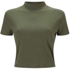 Miss Selfridge PETITE Khaki Rib T-Shirt ($25) ❤ liked on Polyvore featuring tops, shirts, khaki, petite, shirt jersey, khaki top, jersey shirt, short sleeve shirts and khaki short sleeve shirt
