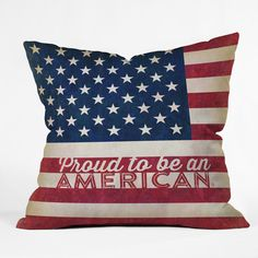 DENY Designs Anderson Design Group Proud to be an American Flag Throw Pillow & Reviews | Wayfair