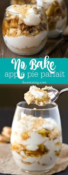 No Bake Apple Pie Parfait Recipe - no bake dessert that has added yogurt to make it healthy enough for breakfast and yummy enough for dessert! # Desserts fruit No Bake Apple Pie Parfaits Baked Apple Dessert, Dessert Oreo, Apple Dessert Recipes, Easy No Bake Desserts, Gourmet Recipes, Baking Recipes, Delicious Desserts, Healthy Desserts, Baking Desserts