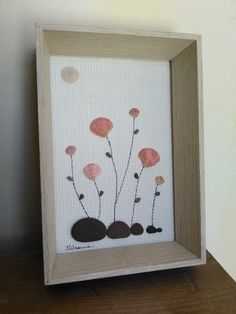 Pebble art flowers pink shells brown stones by nanato.crafts handmade in Portugal