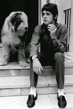 "One of the more popular Beatles, Paul McCartney, with his dog Martha; the inspiration to the song ""Martha My Dear"""