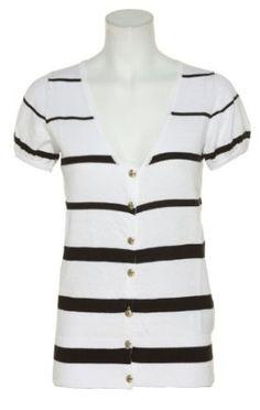 RAMPAGE Stripe Cardigan Sweater W/ Ribbon Open Back [4511116489]