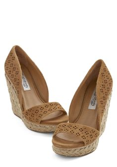 Main Street Meander Wedge in Tan. Today, your vacation takes you to a sweet seaside town, which youre ready to explore in these tan wedges! #tan #modcloth