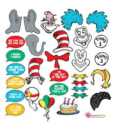 30 Awesome The Cat in the Hat INSTANT DOWNLOAD Photo Booth Props DIY (Pdf)