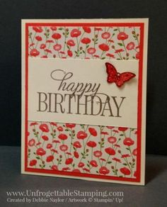 Unfrogettable Stamping | Fabulous Friday tunnel card featuring the Pretty Petals DSP stack, Happy Birthday Everyone, You've Got This and Papillon Potpourri stamp sets and coordinating butterfly punches from Stampin' Up! by graciela
