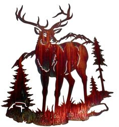 Elk and Mountain Scene Laser Cut Metal Wall Art