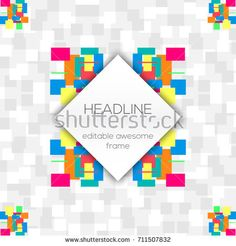 Editable flyer of simple geometric elements with background of  gray  squares. For Cover Report Annual Brochure, Flyer, Poster. Editable layout for presentation, website and print, magazine cover.
